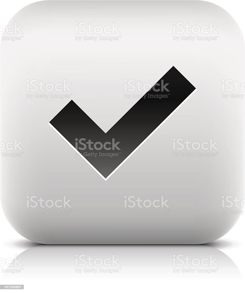 Check mark sign black pictogram rounded square icon internet button vector art illustration