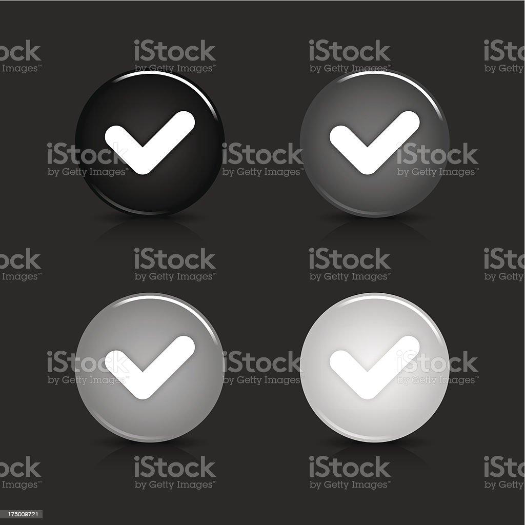 Check mark sign circle icon gray black button royalty-free stock vector art