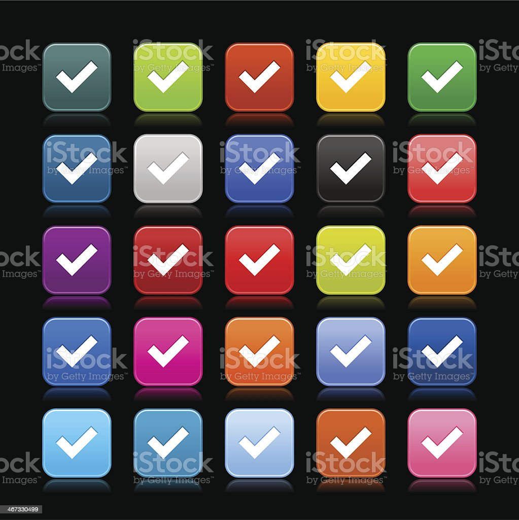 Check mark sign rounded square icon web button vector art illustration
