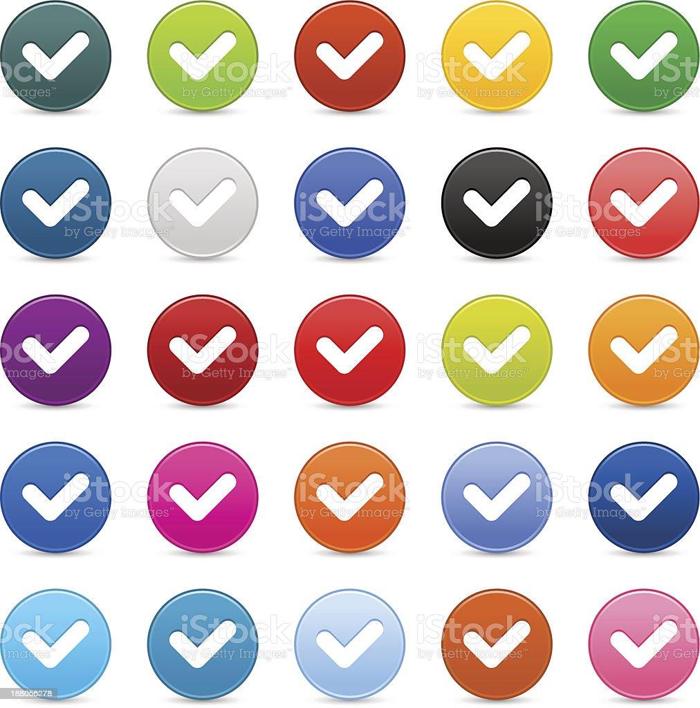Check mark sign satin circle icon web button reflection shadow royalty-free stock vector art