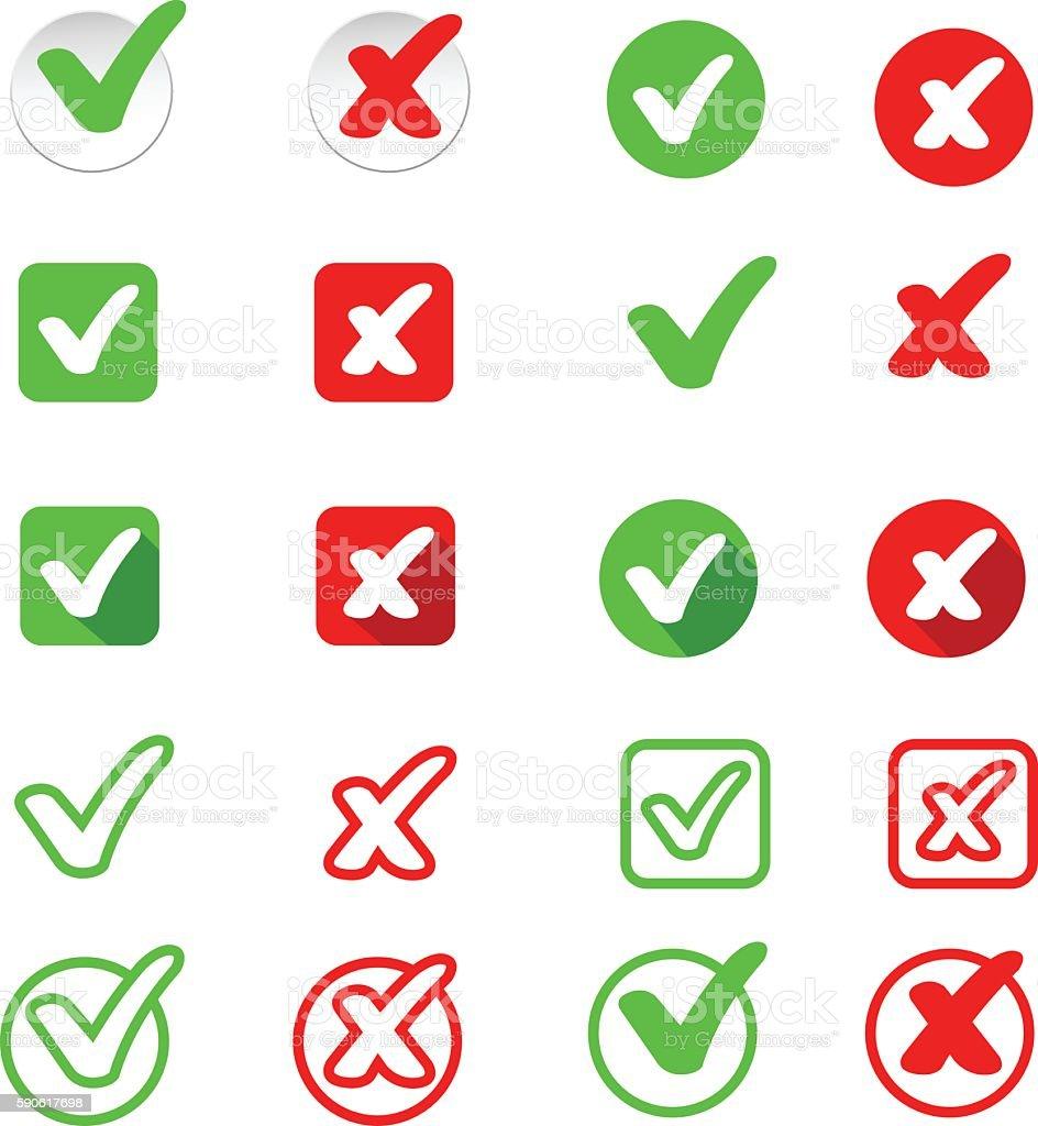 Check mark stickers vector art illustration