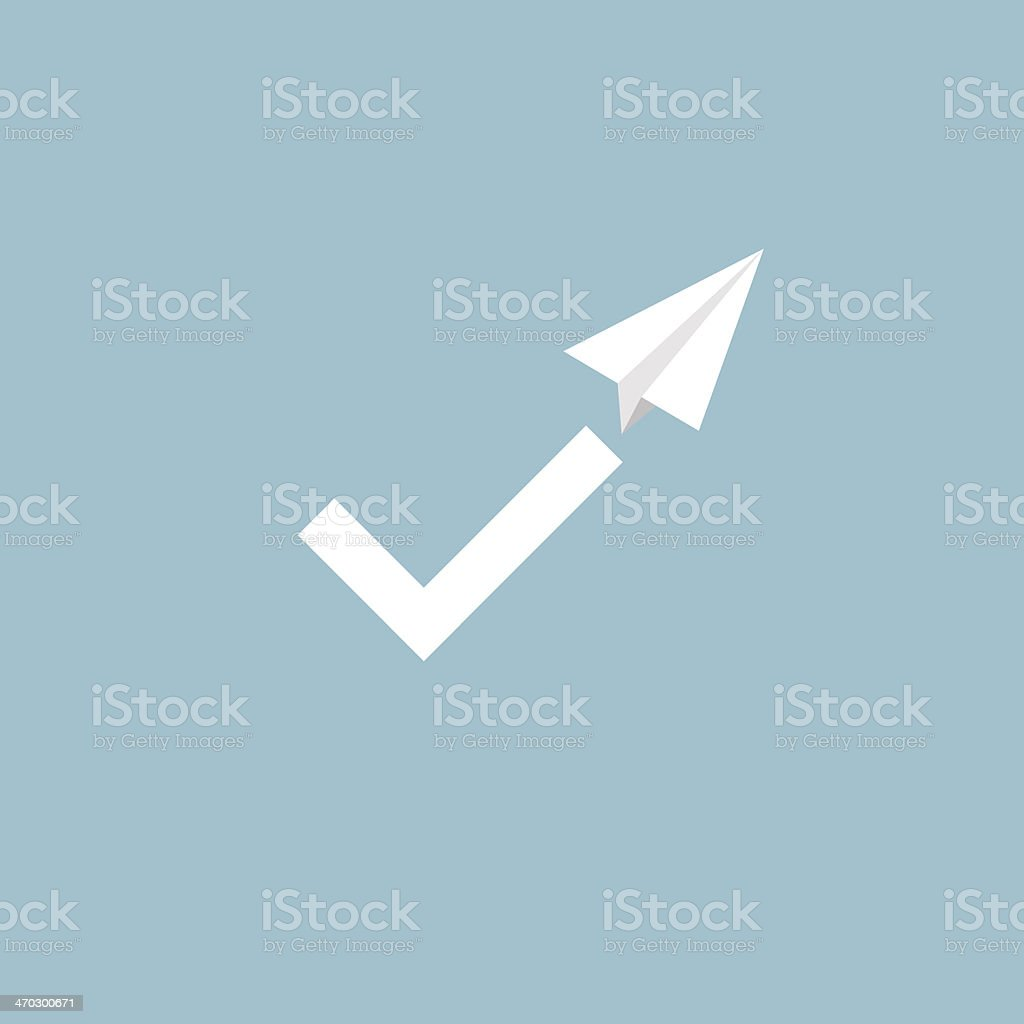 Check mark symbol as the trail of a paper plane royalty-free stock vector art