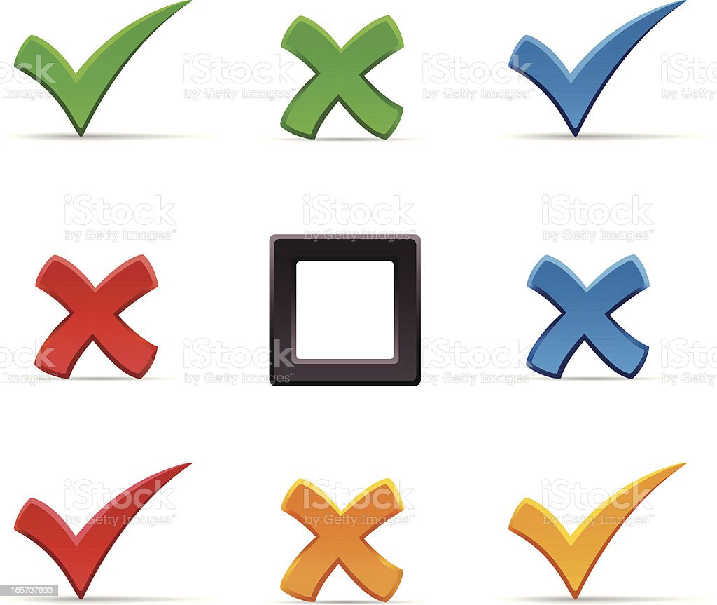 Check marks and crosses royalty-free stock vector art