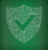 Check Shield Circuit Board royalty free vector art background
