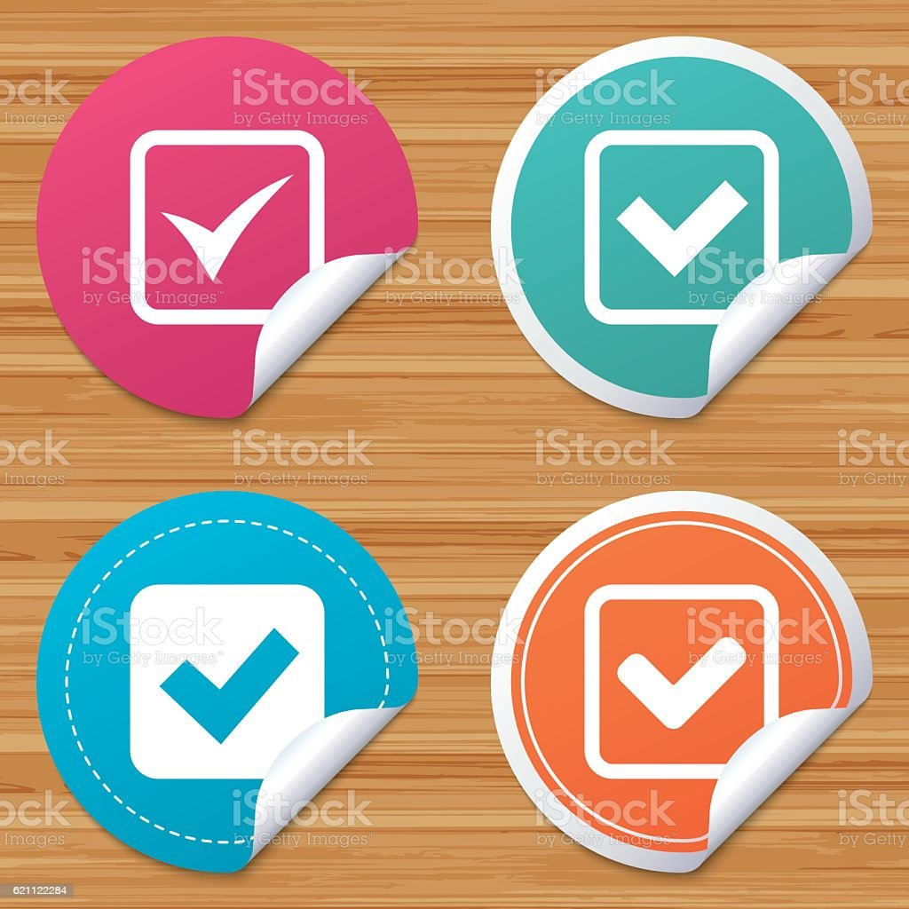 Check signs. Checkbox confirm icons. vector art illustration