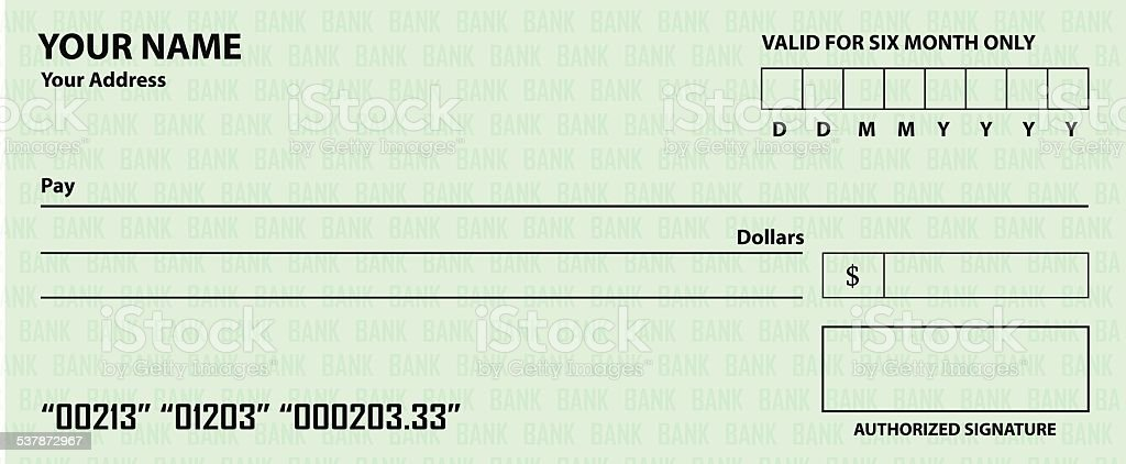 Fake Blank Check Template Background Clip Art, Vector Images