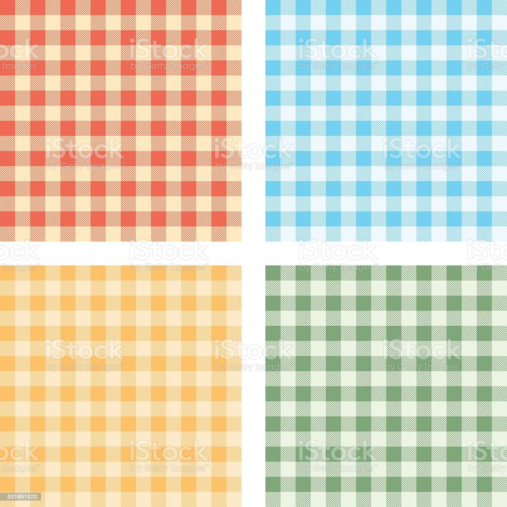 Checked Tablecloths Four Colors vector art illustration