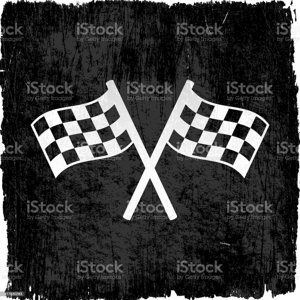 checker flags on grunge background vector art illustration