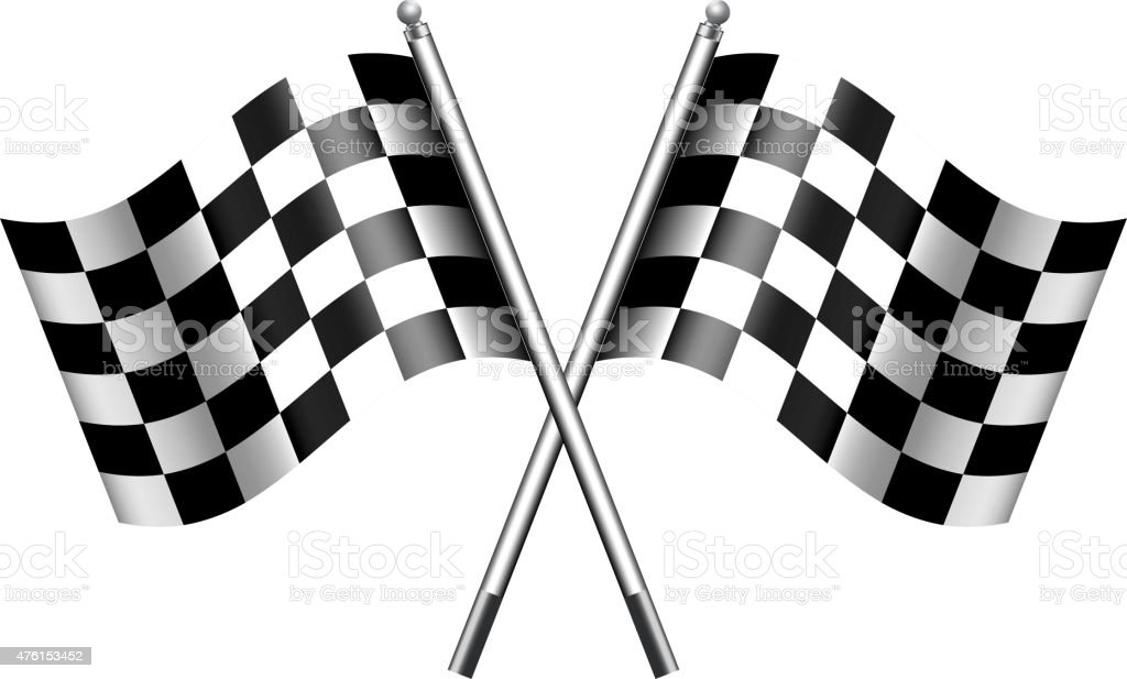 Checkered, Chequered Flags Finish Flag vector art illustration