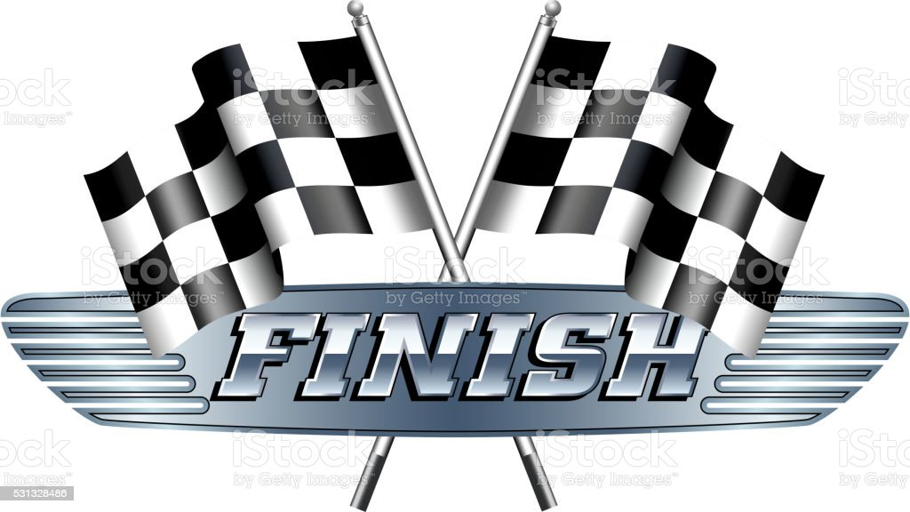 Checkered, Chequered Flags Motor Racing FINISH vector art illustration