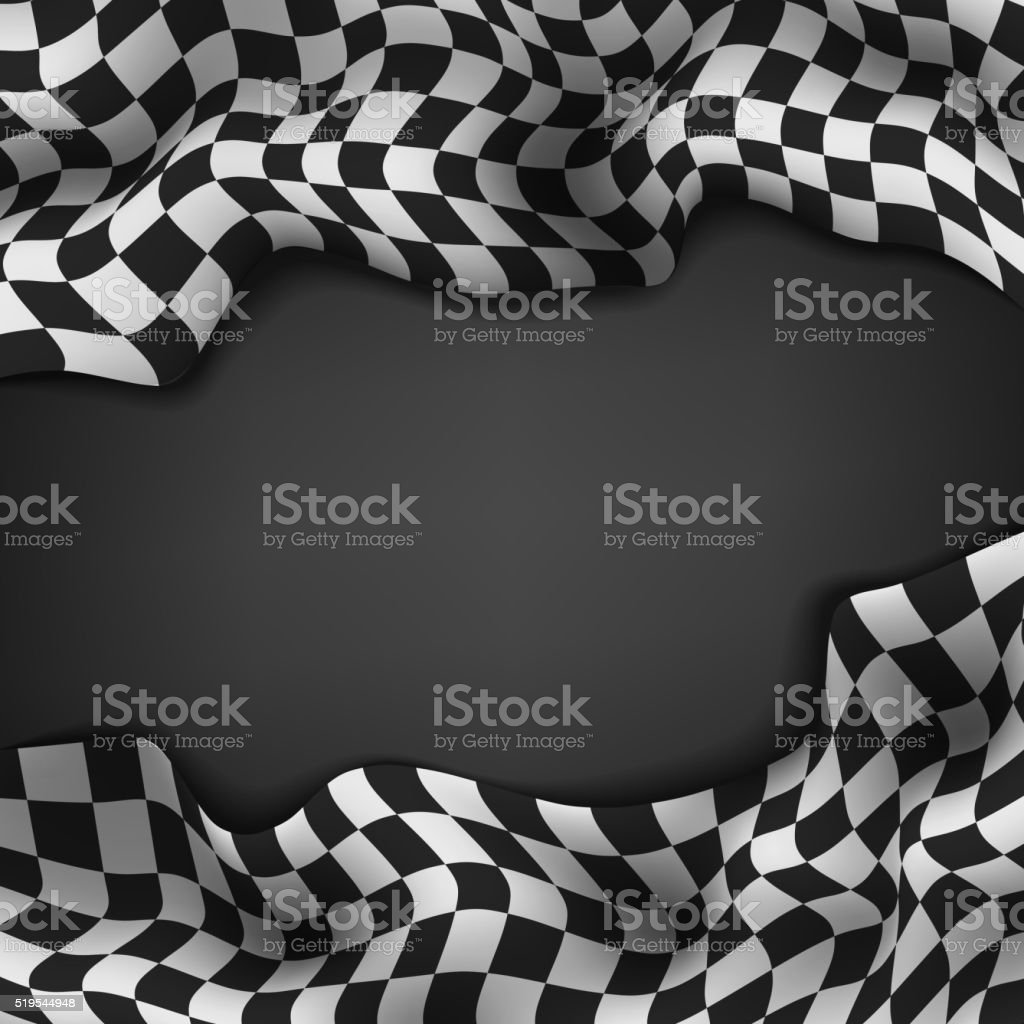 Checkered flag and space for your text inside background vector art illustration