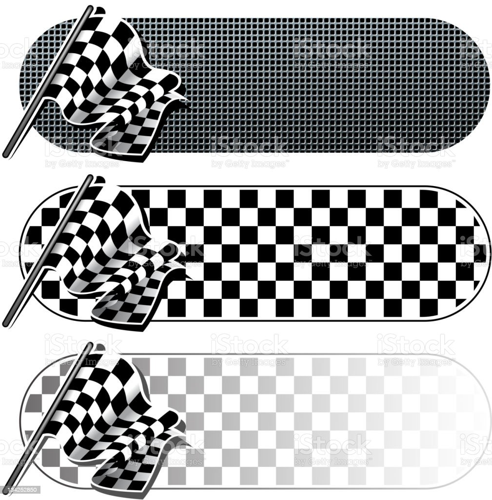 checkered flag banner set stock photo
