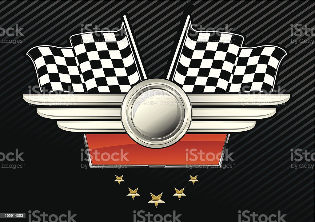 Checkered Flag Emblem with Stars royalty-free stock vector art