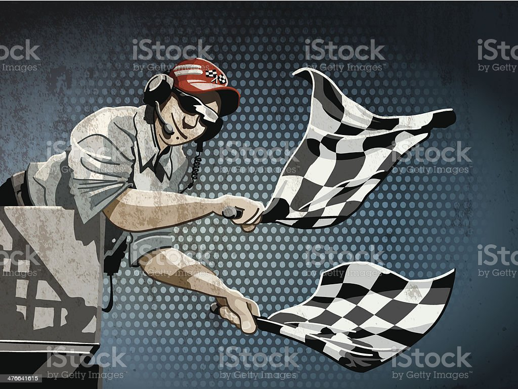 Checkered Flag Grunge Color royalty-free stock vector art