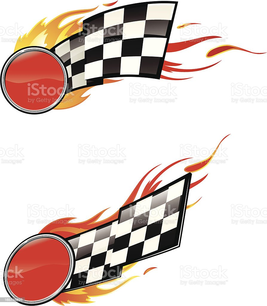 Checkered Flag Insignia Engulfed in Flames royalty-free stock vector art