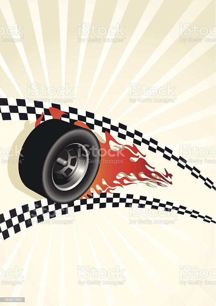 Checkered Flag Wheel vector art illustration
