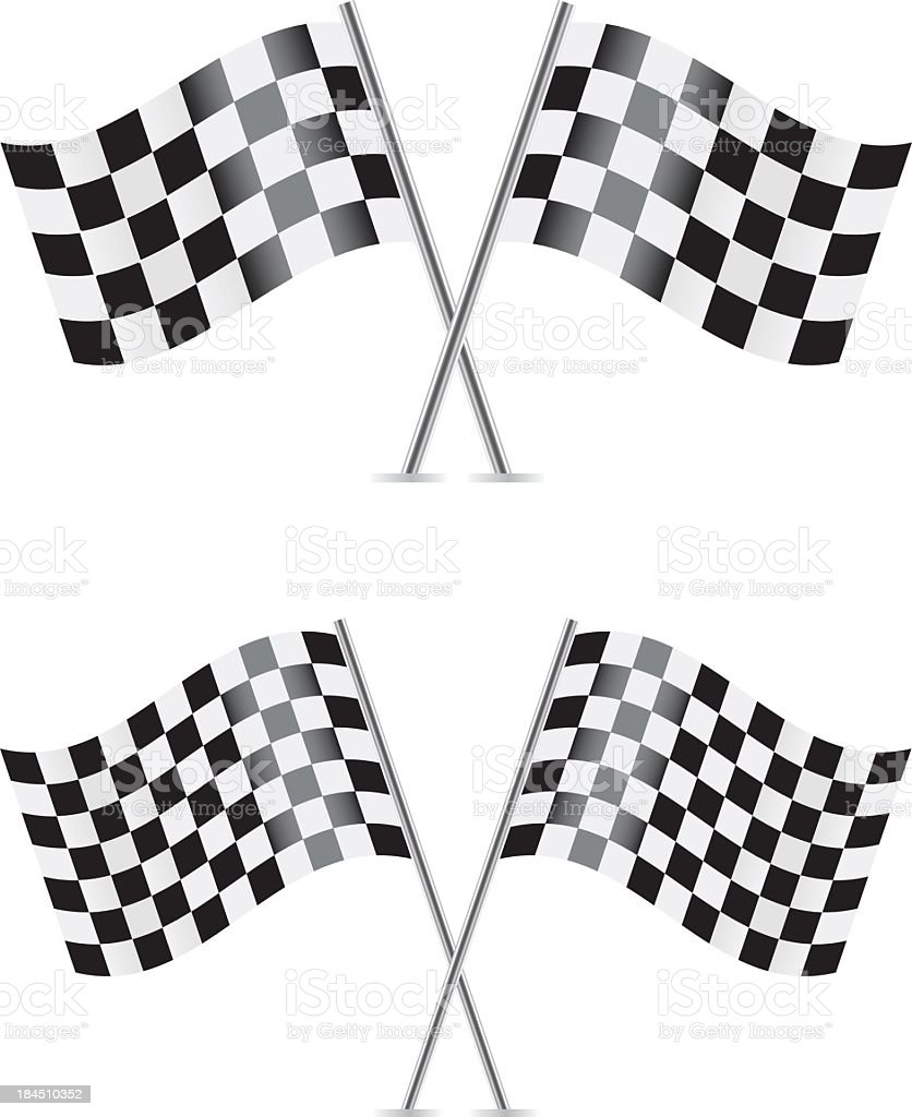 Checkered flags for the race track vector art illustration