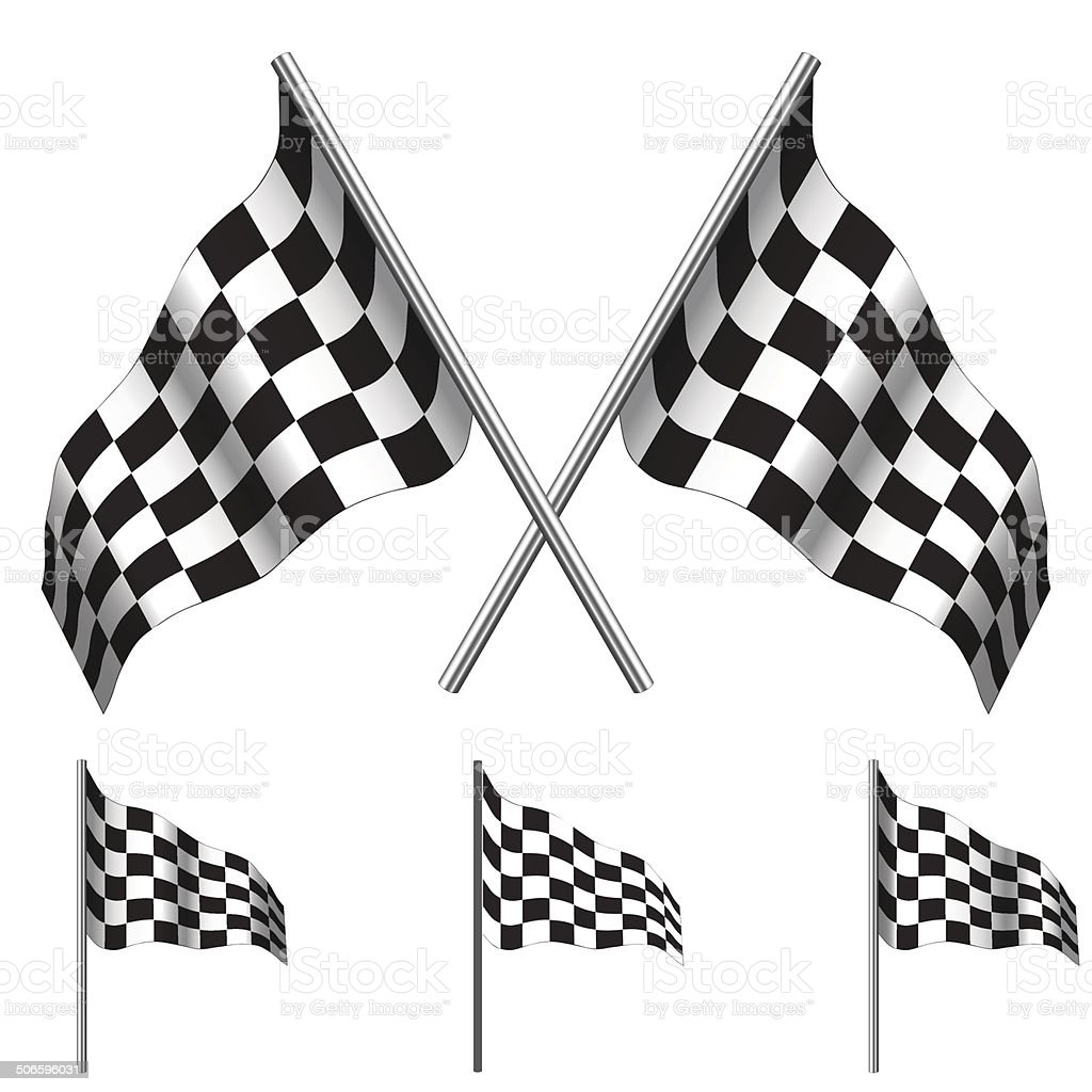 Checkered Flags (racing). Vector vector art illustration