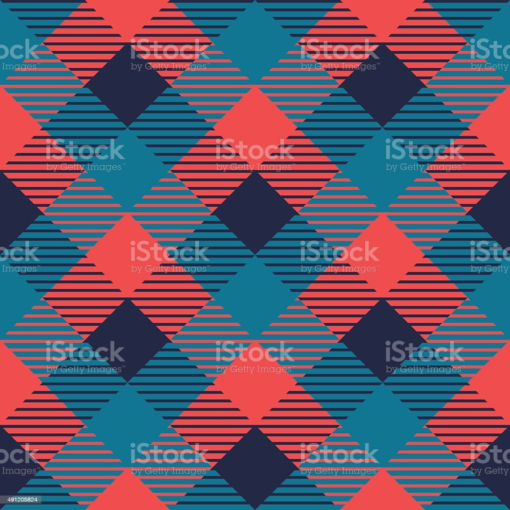 Checkered gingham fabric seamless pattern in grey blue and pink vector art illustration
