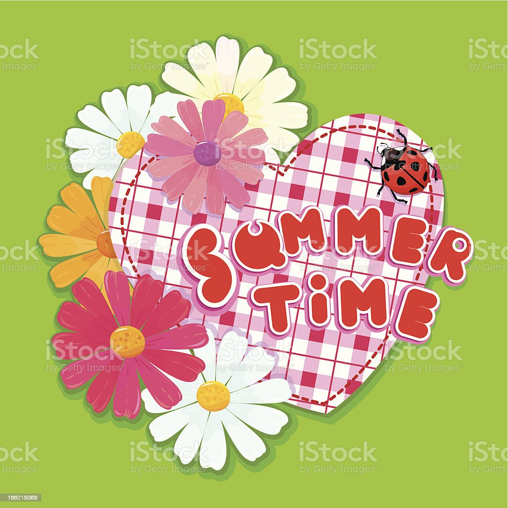 Checkered Heart, ladybird and daisies royalty-free stock vector art