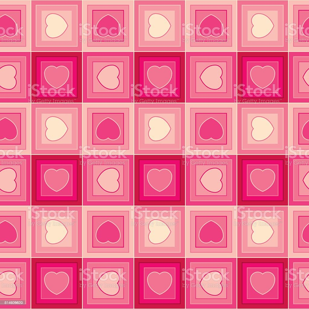 Checkered hearts in pink (Seamless patterns) vector art illustration
