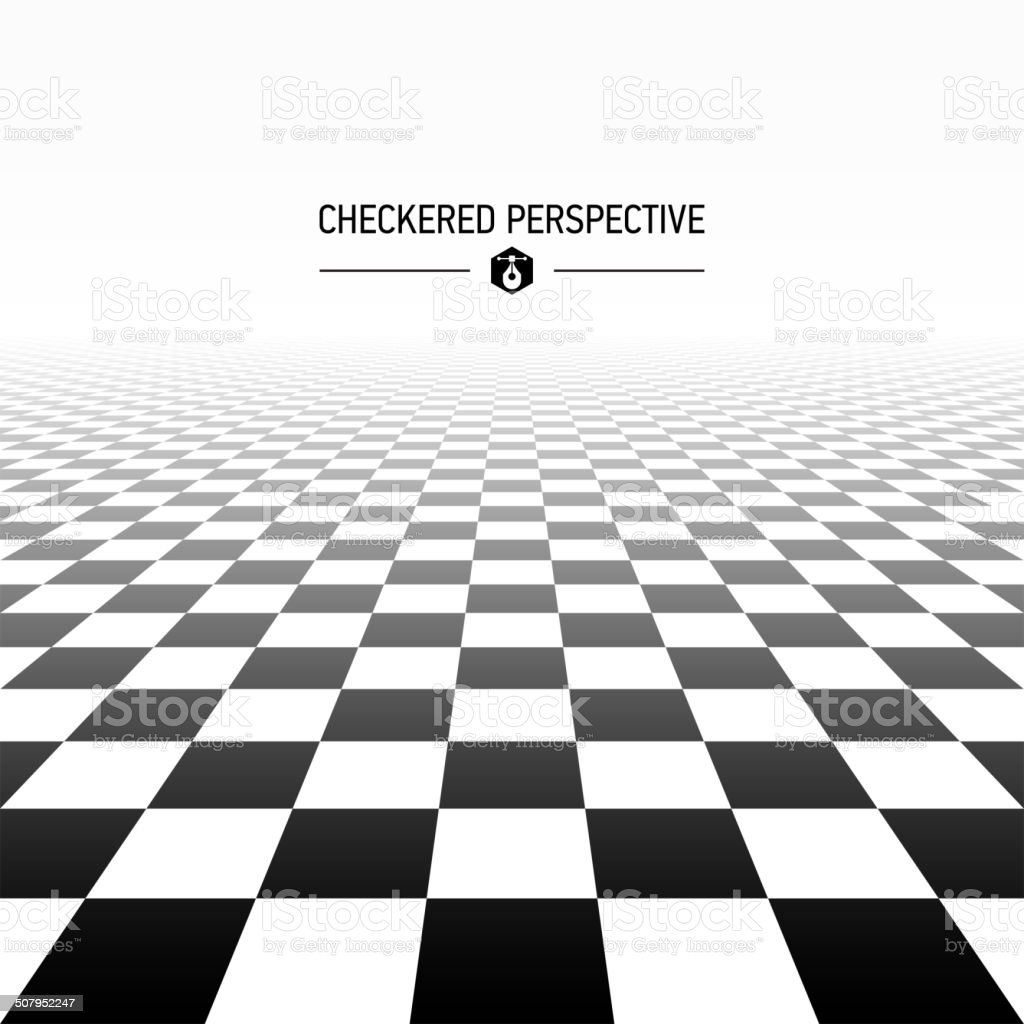 Checkered perspective background vector art illustration