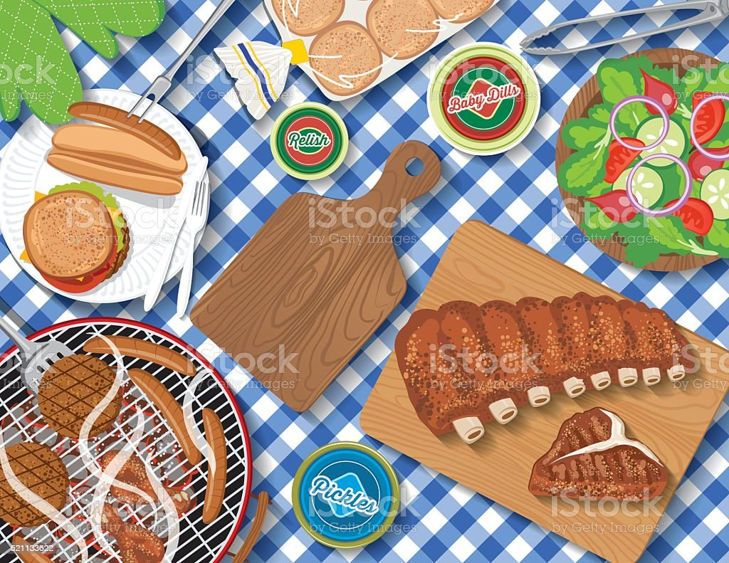 Checkered Tablecloth With Picnic Flatlay vector art illustration