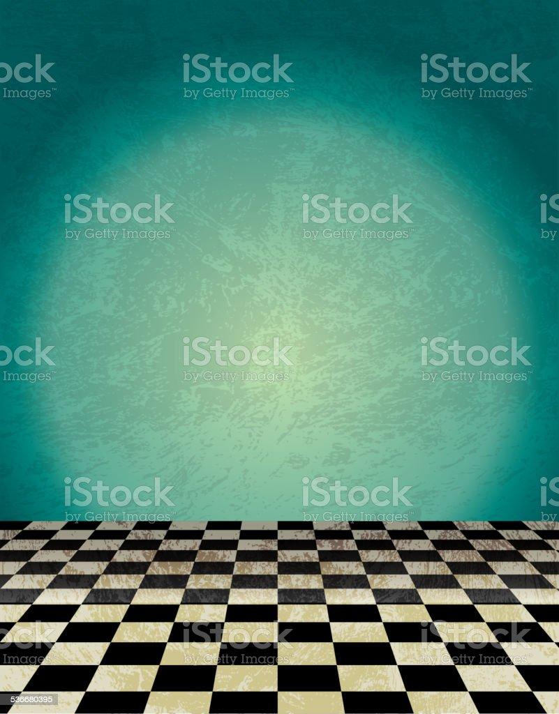 Checkered tile green background vector art illustration