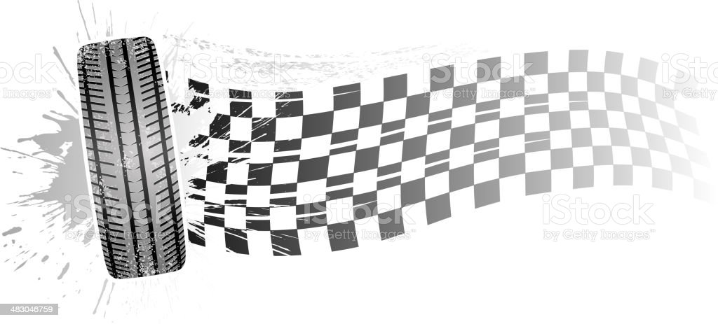 checkered tire banner royalty-free stock vector art
