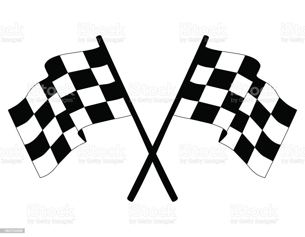 Checkered vector race flags vector art illustration