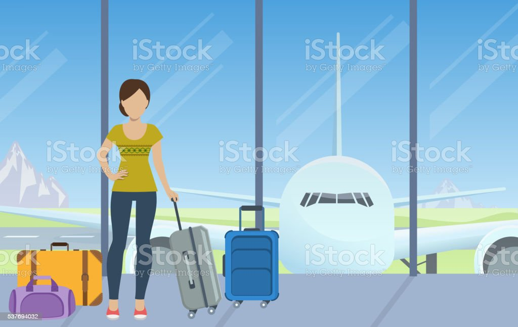 Check-in at the airport vector art illustration