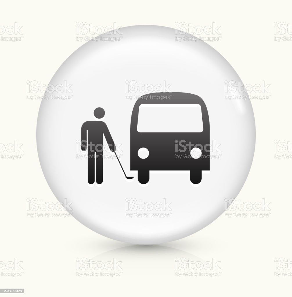 Checking Car icon on white round vector button vector art illustration
