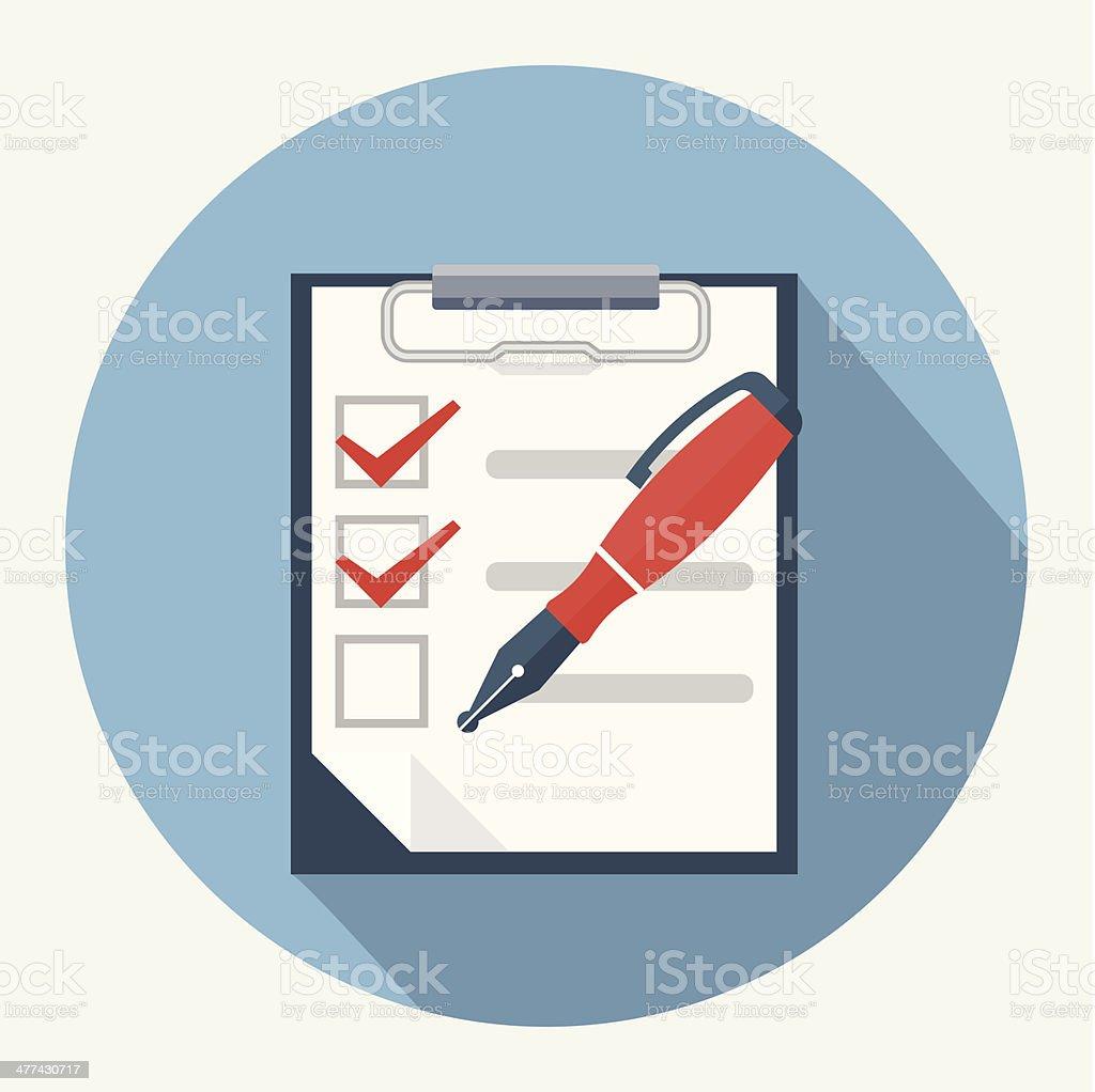 Checklist and nib pen vector art illustration