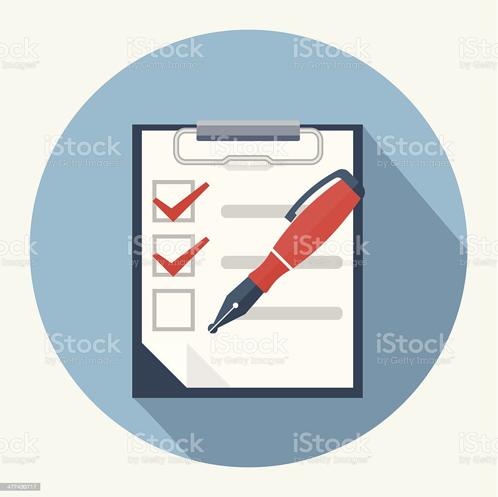 Checklist and nib pen vector art illustration