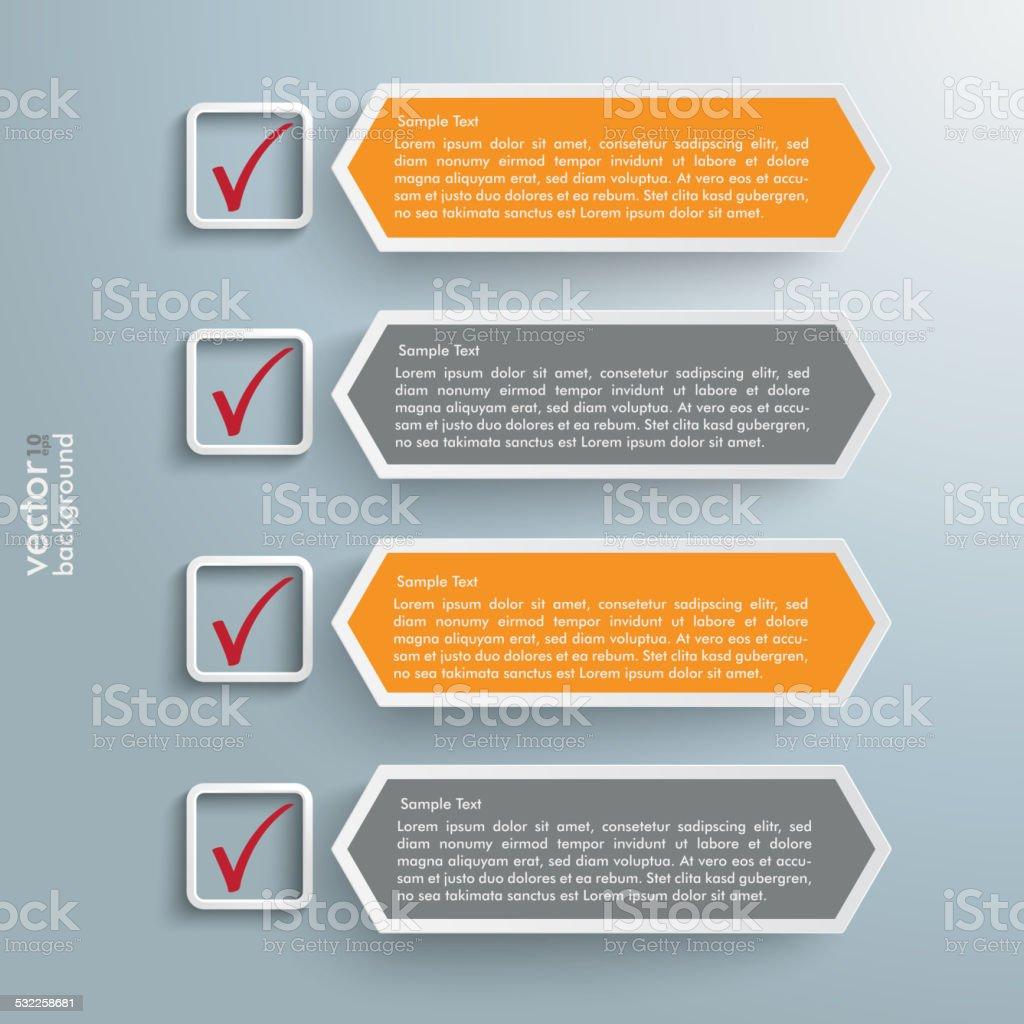 Checklist Banners Long Hexagons vector art illustration