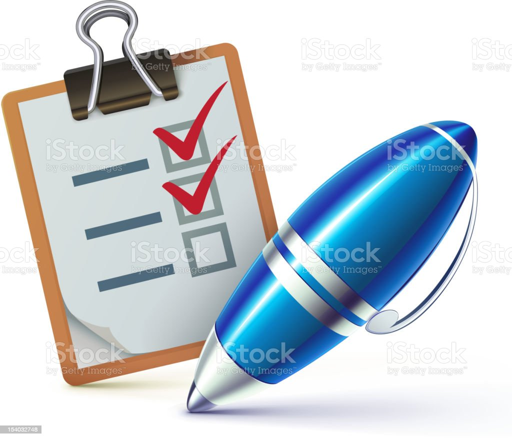 checklist on a clipboard royalty-free stock vector art