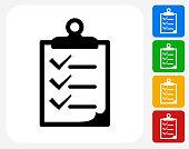 Checklist on Clip Board Icon Flat Graphic Design