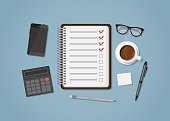 Checklist with office items