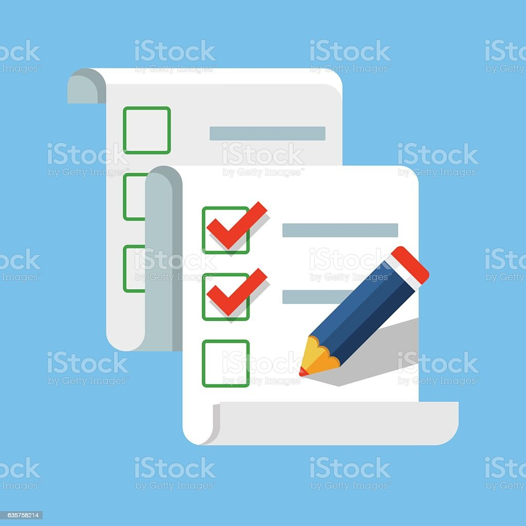 Checklist with pencil vector art illustration