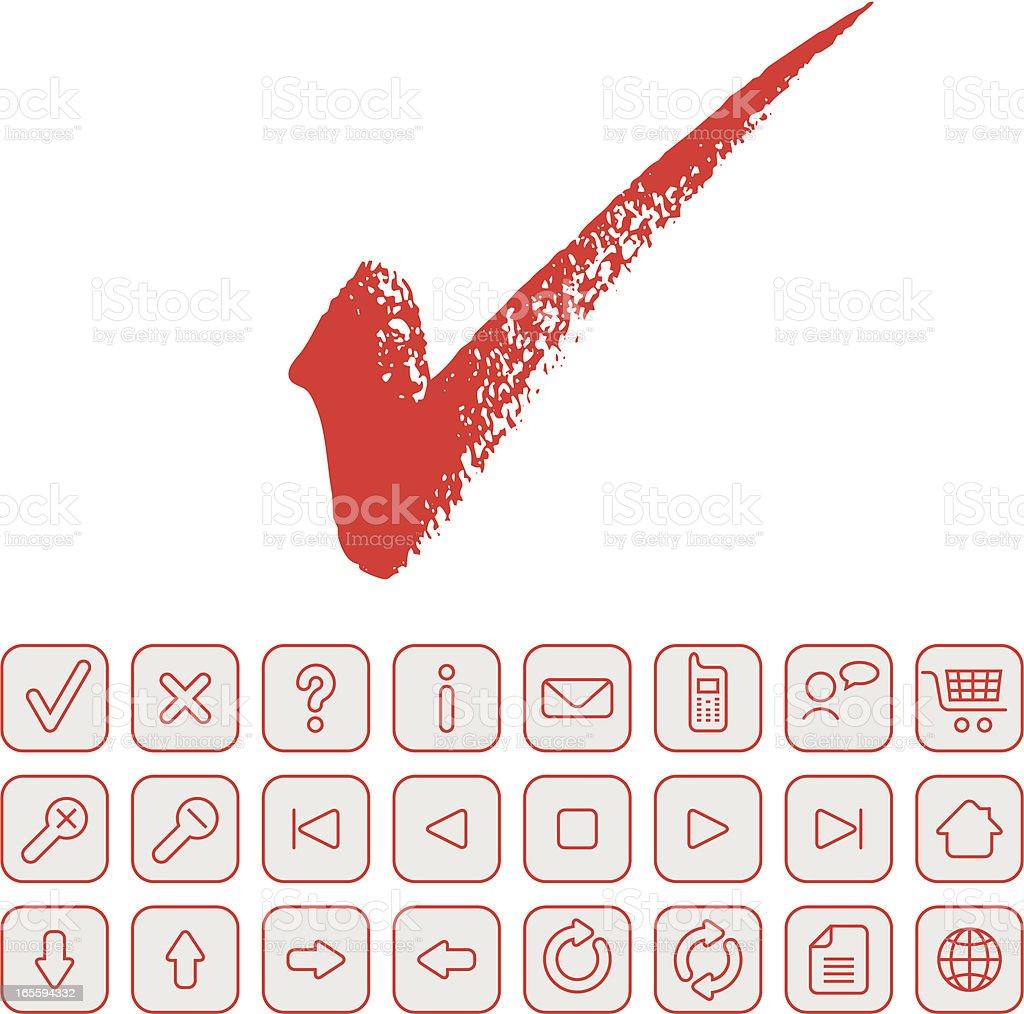Checkmark and navigation icon set. vector art illustration