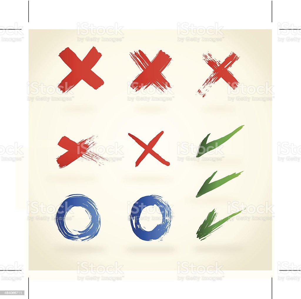 Checkmark, x, vector art illustration