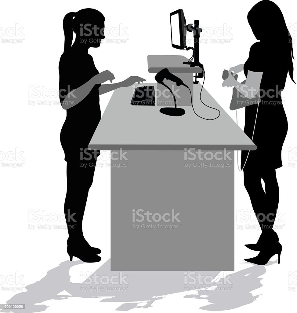 Checkout Computer Silhouette vector art illustration