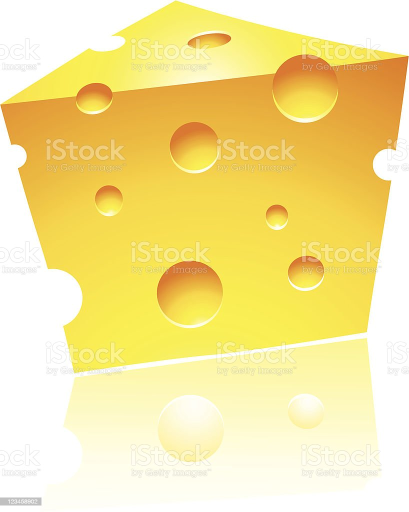 Cheddar Cheese with Reflection royalty-free stock vector art