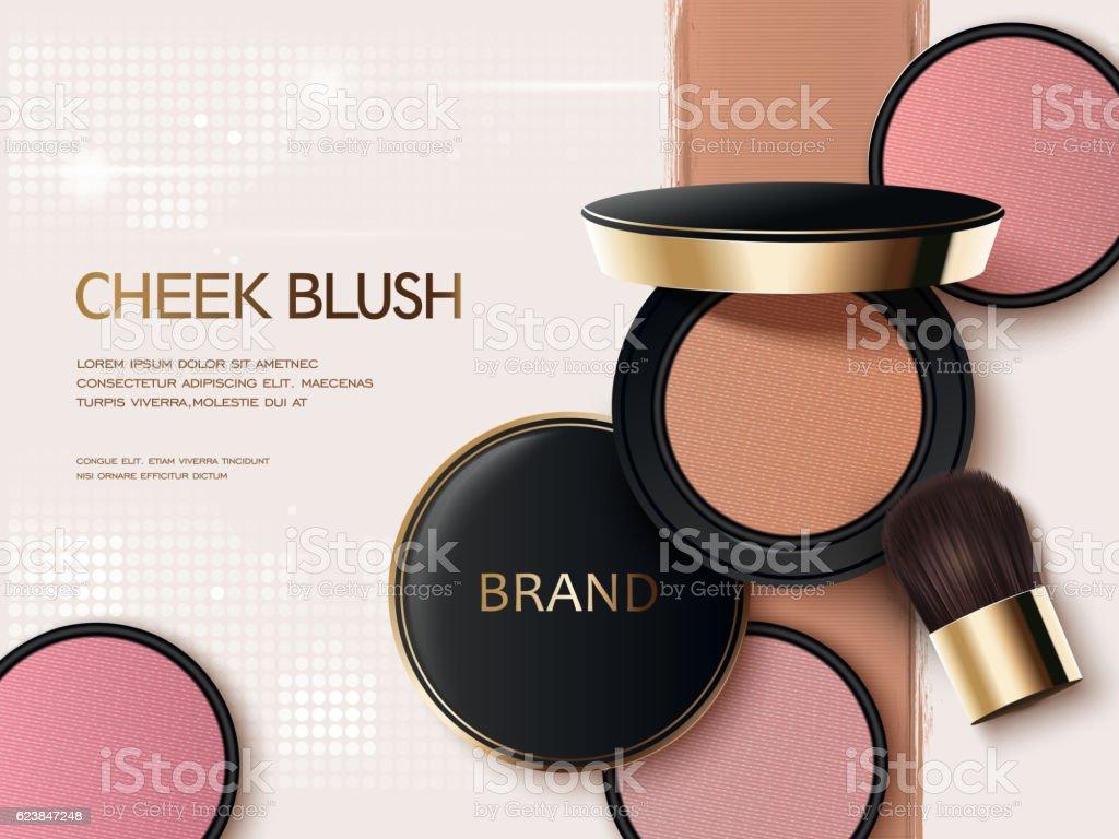 Cheek blush ads vector art illustration