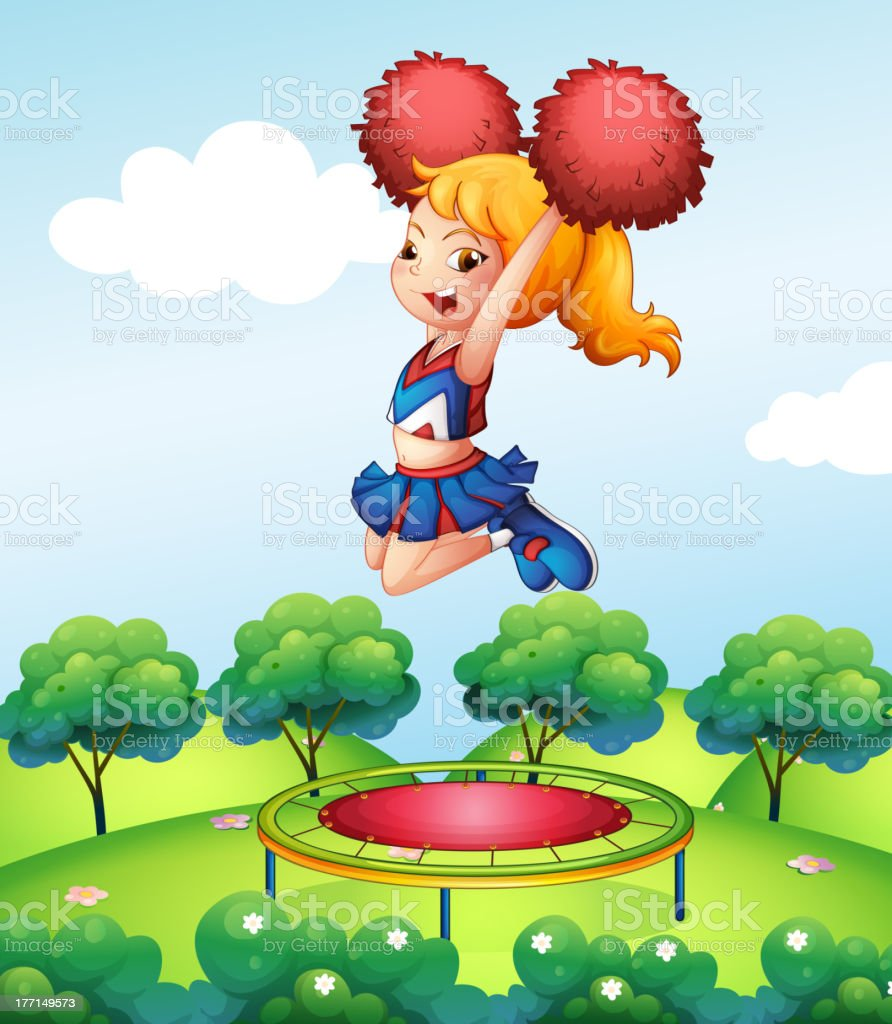 Cheerdancer holding her red pompoms above the trampoline royalty-free stock vector art