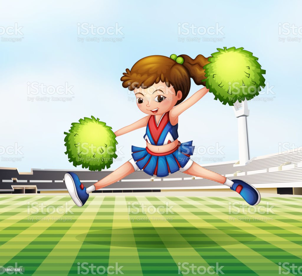 cheerdancer with green pompoms at the soccer field royalty-free stock vector art