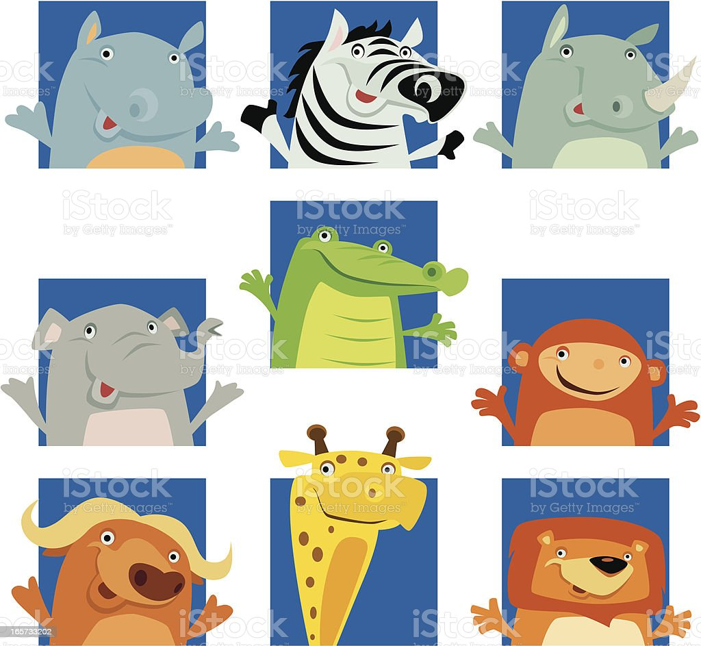 cheerful african animals royalty-free stock vector art