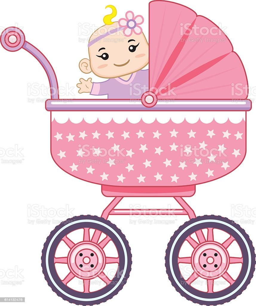 Cheerful baby girl in her baby carriage vector art illustration