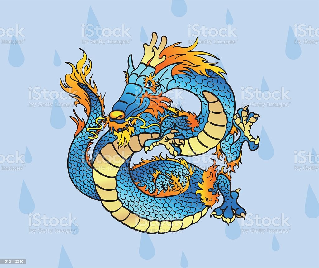 Cheerful blue Asian dragon against water drops vector art illustration