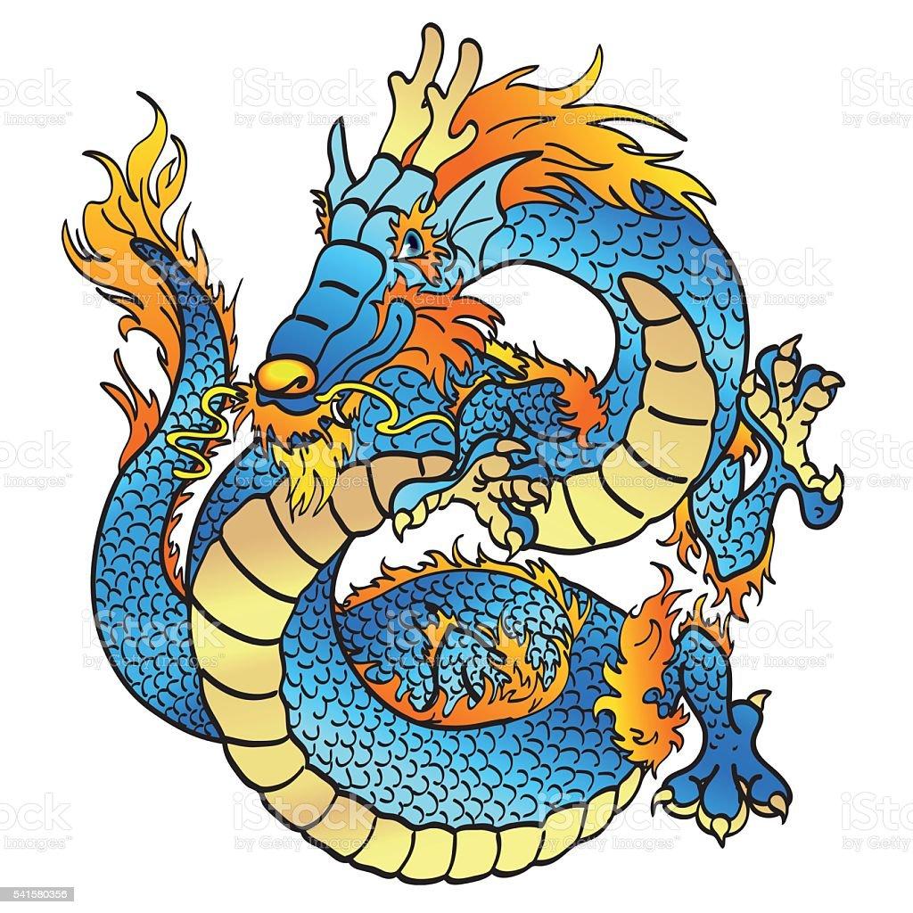 Cheerful blue water asian dragon on white vector art illustration